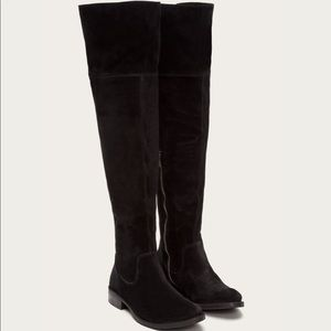 Frye Black Suede Over the Knee Boots